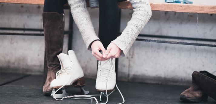 putting on skates